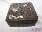 古玩铜器红铜文房用品印泥盒墨盒、喜上眉梢