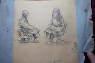 五十年代,素描画一幅,两个小女孩