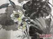 手绘真迹国画:梅州青年画家 天鸿(荷池一角)荷花