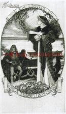 """瑞士艺术家""""Alfred Soder  (1880-1957)""""蚀刻藏书票—《等候美女上船的王子》1918"""