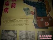 文革宣传画【积极防治疟疾】2张!背面写有字迹!对开