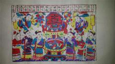 杨家埠木版年画版画大全之046*喜字在当中