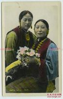 民国时期藏族女孩手工上色人像老照片,13.8X8.8厘米