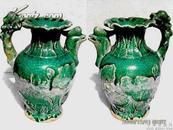 汉代绿釉龙柄鸡嘴壶 #2481