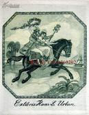 """""""新艺术风格""""""""德国艺术家""""(Mathilde Ade)铜版藏书票—《马背上的男女》 签名"""