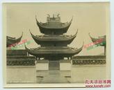 民国时期上海佛教龙华寺鼓楼建筑老照片,当时香火极旺, 位于南郊龙华街道,是上海地区历史最久、规模最大的古刹。12.7X10.1厘米