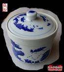 景德镇青花罐一件____典型清代绘图风格____自家使用数十年的多年一件厨房用具