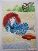 比利时版画家塞维林水彩画原稿日本民间神话故事人物另附豪华游轮菜单一套6张