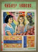 发展蚕桑生产 支援四化建设  宣传画 70年代湖南省编印 (长76cm宽52.8cm)