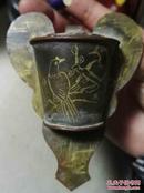 康熙年制-铜鎏金花鸟纹饰--鸟食罐--珍贵稀少--保真