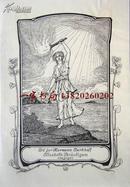 """""""新艺术风格""""""""德国艺术家""""(Willy Ehringhausen)藏书票——《手举火炬的女人》 1912"""