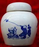 清代清花茶罐