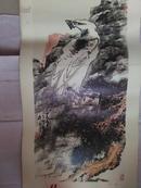 白鹰图 (李苦禅、大挂历散页、76x35cm)