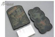 古墨2块 海外回流 彩色人物雕纹 背后都刻有诗文 罗小华精制等