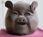 乌木十二生肖工艺品之一:猪头
