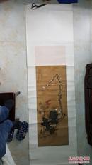 家传清代画家宋瑾梅花、南天竹,水仙山石立轴,绢画,老裱,包真包老,假一罚十。