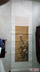 家传清代画家宋瑾彩色菊花立轴,绢画,老裱,包真包老,假一罚十。