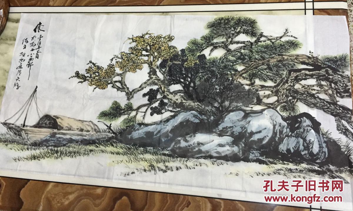 手绘真迹国画:梅州青年画家 天鸿(依:练习树木画法))