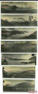 民国时期台湾日月潭宽幅风景照片一组共计七枚,银盐老照片,单张尺寸为16.8X5.4厘米