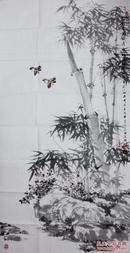 辽宁青年画家周明辉四尺整纸花鸟《竹影清风》【原作很不错】