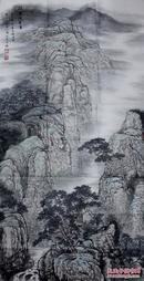 辽宁青年画家周明辉四尺整纸山水《闲云浸碧夏》【原作很不错】