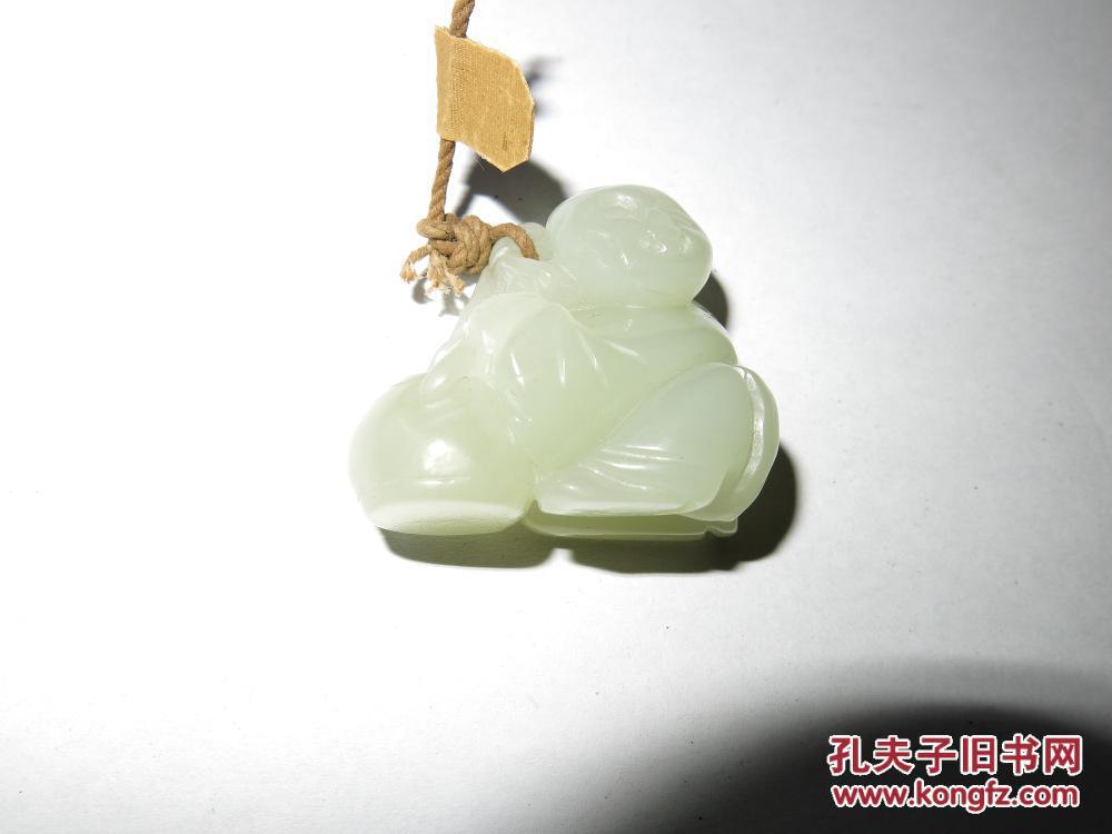 清代 和田青白玉童子雕件  文镇一个