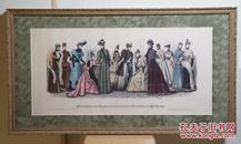 ★西洋妇人时尚服饰画    彩色石版刷  1891年