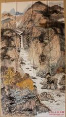 辽宁青年画家周明辉六尺整纸山水《秋山访友图》【精品97*174CM】