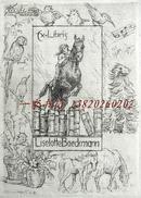 """德国艺术家""""H. Prell""""蚀刻人体藏书票—《远处的海景与树前的裸女》 1911"""