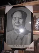 杭州刺绣 毛泽东同志 中国杭州东方红丝织厂敬制,装裱后尺寸46*29.8公分
