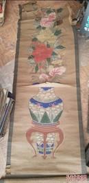 特价民国手绘原作博古花瓶花卉图年画条屏包老