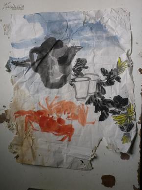 画稿 3张  梅花.虾.菊花