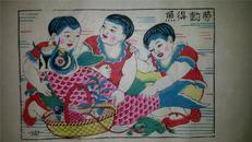杨家埠木版年画版画大全之151*改革题材劳动得鱼
