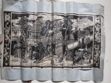 上海雕刻厂  周勃夺北军  古典人物原稿图  50x28