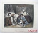 《你准备好了吗》法国19世纪中期情色石版画手绘上色情色艺术精品之作