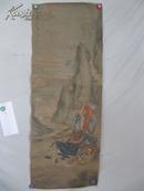 清代手绘 丁云鹏绘彩墨山水人物  国画一幅  绢本 尺寸45*125厘米 包老不保真