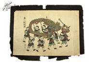 稀见明治时期 文锦堂印制 大开彩绘版画《唐人舞龙图》  B21