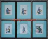 19世纪中国外销通草水彩画《仕女图》(6幅)——原彩色手绘 原画框 (22x18cm)
