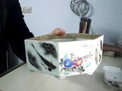 清中后六棱水仙瓷花盆