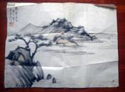 著名画家许自诚设色山水一幅【民国三十四年作品】