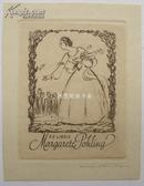 藏书票德国早期酸刻铜版画仕女藏书票采花闺秀