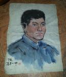 特价1976年写于一中作者原作手稿人物画像水墨画一件包老手绘的