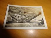 1952老照片【两名军人布景飞机】 黑白
