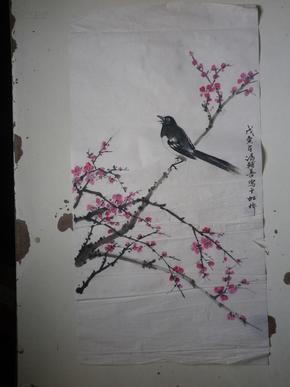 宣纸水墨画       梅鸟   68x34