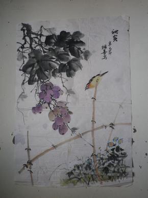 宣纸水墨画   果鸟画