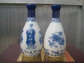老酒瓶 中国杜康酒瓶一对(蓝花瓷)