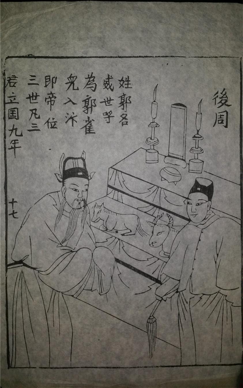 名家早期老木刻木版年画版画*历代帝王图之后周*值得收藏