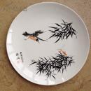 韩敏 绘 鸟虫图 手绘瓷盘