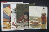 【全场包邮】NZD14102706油画家高岩 九十年代油画作品四幅(静物等题材),详见图