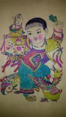 建国后创新年画20年前手抄纸印木刻木版年画版画*儿童戏禽*45*30cm